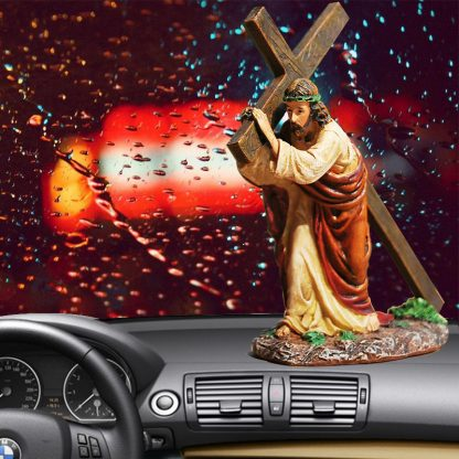 Resin Cross Crucifix Jesus Statue Figurine Christian Automobiles Decoration Furnishing Accessories Gift 2