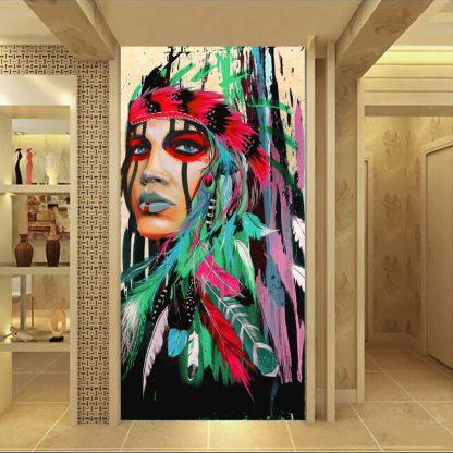 인테리어그림Modern Native American Indian Girl Feathered Canvas Painting For Living Room Wall Art Prints Home Decor free shipping Unframed 3