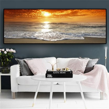 Sunsets Natural Sea Beach Landscape Posters and Prints Canvas Painting Panorama Scandinavian Wall Art Picture for Living  Room  2