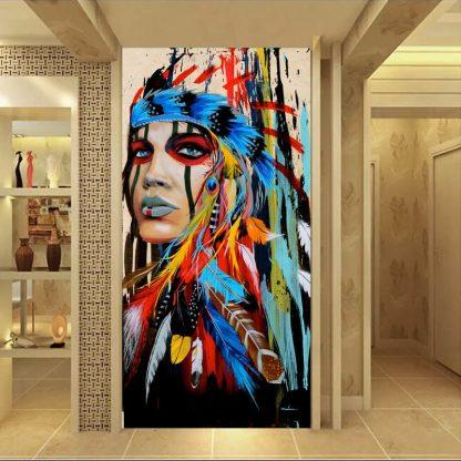인테리어그림Modern Native American Indian Girl Feathered Canvas Painting For Living Room Wall Art Prints Home Decor free shipping Unframed 1