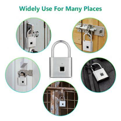 Golden security keyless smart USB rechargeable door fingerprint padlock quick unlock Zinc alloy metal self developing chip 5