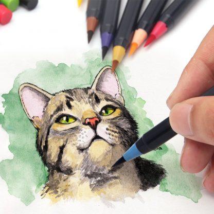 워터브러쉬20pcs Colors Brush Pen Sketch Drawing Watercolor Marker Set Calligraphy Pen For School Children Painting Manga Brush Stationery 3