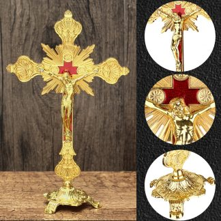 Golde Church Relics Figurines Crucifix Jesus Christ On The Stand Cross Wall Crucifix Antique Home Chapel Decoration Wall Crosses