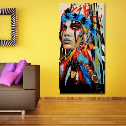 인테리어그림Modern Native American Indian Girl Feathered Canvas Painting For Living Room Wall Art Prints Home Decor free shipping Unframed 5