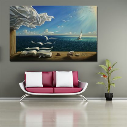 Salvador Dali Canvas Art Print Poster The Waves Book Sailboat Picture Canvas painting Diary of Discovery by Vladimir Kush 3