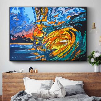 Abstract Hawaii Surf Wave Posters and Prints Wall art Decorative Picture Canvas Painting For Living Room Home Decor Unframed