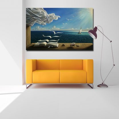 Salvador Dali Canvas Art Print Poster The Waves Book Sailboat Picture Canvas painting Diary of Discovery by Vladimir Kush 4