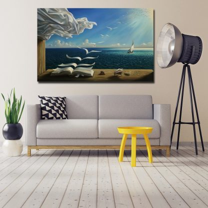 Salvador Dali Canvas Art Print Poster The Waves Book Sailboat Picture Canvas painting Diary of Discovery by Vladimir Kush 5