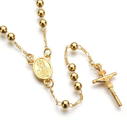 Gold Beads Rosary Blessed Goddess Pendant Necklace Hip Hop Golden Cross Jesus Necklace Christian Catholic Religious Jewelry 3