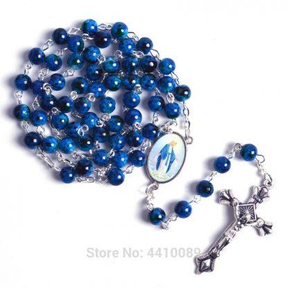New Fashion Small Sized Round Blue Glass Beads Virgin Mary Catholic Rosary Necklace 1
