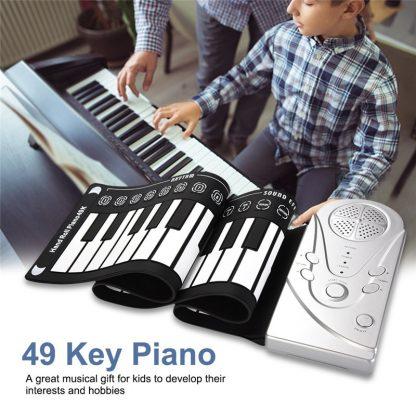 49 Key Portable Flexible Digital Keyboard Piano 10 Rhythms Electronic Roll Up Piano Children Toys Built-in Speaker