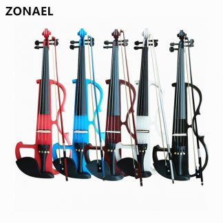 ZONAEL Full Size 4/4 Solid Wood Silent Electric Violin Fiddle Maple Body Ebony Fingerboard Pegs Chin Rest Tailpiece