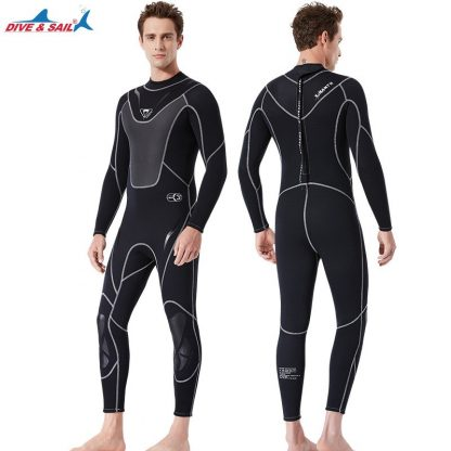 Full-body Men 3mm Neoprene Wetsuit Surfing Swimming Diving Suit Triathlon Wet Suit for Cold Water Scuba Snorkeling Spearfishing 3