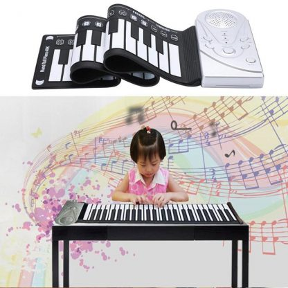Portable Flexible Digital Keyboard Piano 49 Keys Flexible Silicone Electronic Roll Up Piano Children Toys Built-in Speaker 4