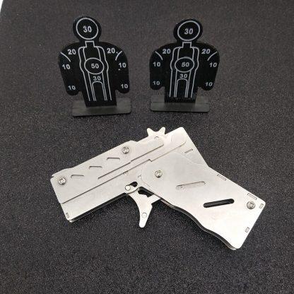 개틀링건 고무줄총 스테인리스 폴딩Stainless steel 1pcs/set  Rubber Band Launcher  Gun Hand Pistol Guns Shooting Toy Gifts Boys Outdoor Fun Sports For Kids 3