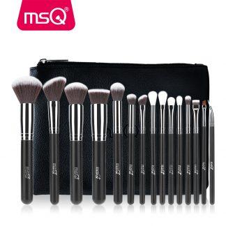 뷰티 메이크업 브러시세트 MSQ 2/15pcs Makeup Brushes Set Powder Foundation Eyeshadow Make Up Brushes Cosmetics Soft Synthetic Hair With PU Leather Case