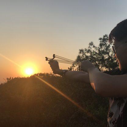 전문가 사냥용 슬링샹 새총 2019 NEW Powerful Hunting Slingshot With 2 Rubber Band Tubing Catapult Professional Tactical Pocket Target Sling Shot Ball 5