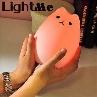 가정용 아이방 수면등 수유등Premium 7 Colors Cat LED USB Children Animal Night Light Silicone Soft Cartoon Baby Nursery Lamp Breathing LED Night Light