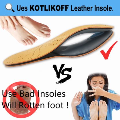 KOTLIKOFF High quality Leather orthotics Insole for Flat Foot Arch Support 25mm orthopedic Silicone Insoles for men and women 2