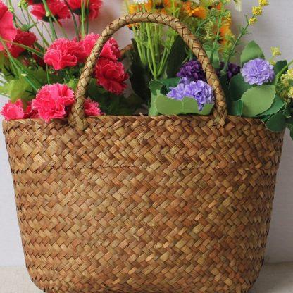 Casual Straw Bag Natural Wicker Tote Bags Women Braided Handbag For Garden Handmade Mini Woven Rattan Bags 2