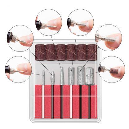 1 Set Professional Electric Nail Kit Nail Tips Manicure Machine Electric Nail Art Pen Pedicure 6 Bits Nails Tools Mill Kit New 5