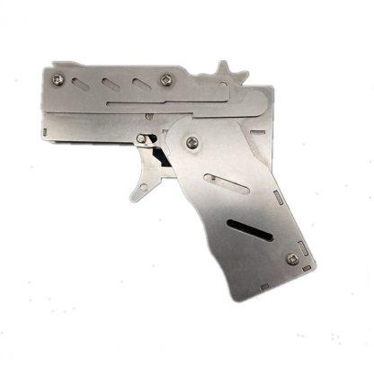 개틀링건 고무줄총 스테인리스 폴딩Stainless steel 1pcs/set  Rubber Band Launcher  Gun Hand Pistol Guns Shooting Toy Gifts Boys Outdoor Fun Sports For Kids 2