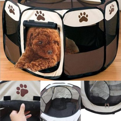 휴대용 강아지 하우스 접이식 텐트형 Portable Folding Pet Tent Dog House Cage Dog Cat Tent Playpen Puppy Kennel Easy Operation Octagonal Fence Outdoor Supplies 1