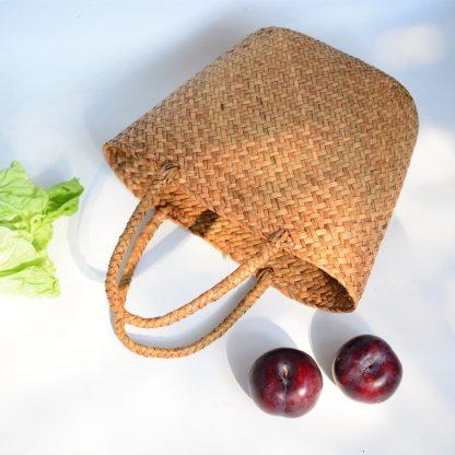 Casual Straw Bag Natural Wicker Tote Bags Women Braided Handbag For Garden Handmade Mini Woven Rattan Bags 5