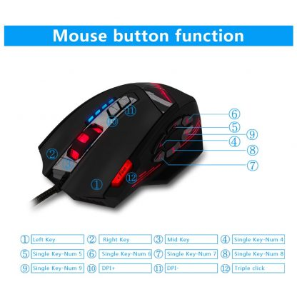 게이밍마우스 ZELOTES C-12 Wired USB Optical Gaming Mouse 12 Programmable Buttons Computer Game Mice 4 Adjustable DPI 7 LED Lights 3