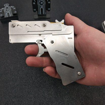 개틀링건 고무줄총 스테인리스 폴딩Stainless steel 1pcs/set  Rubber Band Launcher  Gun Hand Pistol Guns Shooting Toy Gifts Boys Outdoor Fun Sports For Kids