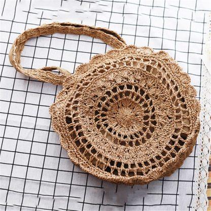 Bohemian Straw Bags for Women Circle Beach Handbags Summer Rattan Shoulder Bags Handmade Knitted Travel Big Totes Bag 2019 New 1