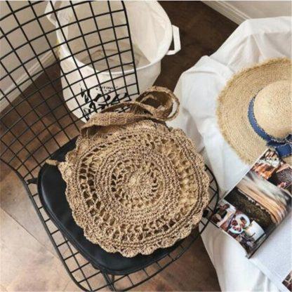 Bohemian Straw Bags for Women Circle Beach Handbags Summer Rattan Shoulder Bags Handmade Knitted Travel Big Totes Bag 2019 New 4