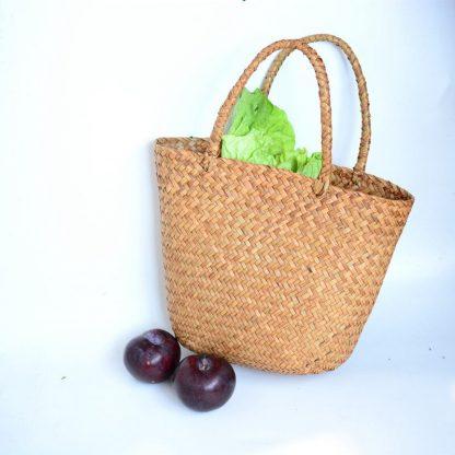 Casual Straw Bag Natural Wicker Tote Bags Women Braided Handbag For Garden Handmade Mini Woven Rattan Bags 3