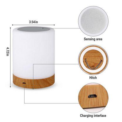 침실 수면등 스마트 터치 램프KAIGELIN 6 Colors Light-adjustable LED Colorful Rechargeble Little Nightlight Table Bedside Nursing Lamp Breathing Touch light 4