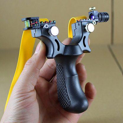 전문가용 알루미늄 새총 슬링샷Big power rubber band slingshot High precision flat leather slingshot professional fast bow outdoor special for  hunting 2