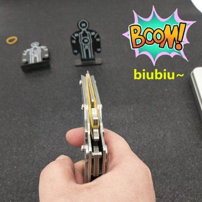개틀링건 고무줄총 스테인리스 폴딩Stainless steel 1pcs/set  Rubber Band Launcher  Gun Hand Pistol Guns Shooting Toy Gifts Boys Outdoor Fun Sports For Kids 4