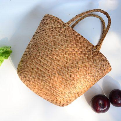 Casual Straw Bag Natural Wicker Tote Bags Women Braided Handbag For Garden Handmade Mini Woven Rattan Bags 4