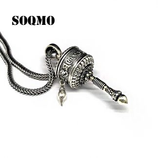 불교 팬던트 SOQMO Men Women Buddha Pendant 925 Sterling silver Buddhist Heart Sutra Vajra Necklace Pendant Christmas gift Jewelry SQM126