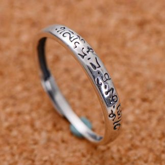 Tibetan Buddha Jewelry 925 Sterling Silver Tail Rings For Women Men Lovers Simple Six Words Om Mani Padme Hum Adjustable Size