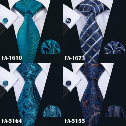 Designer Ties For Men 20 Styles Blue Fashion Silk Neckties Hanky Cufflinks Set For Men Wedding Party Tie Set Barry.Wang BL-01 4