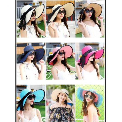 Summer Large Brim Straw Hat Floppy Wide Brim Sun Cap Bowknot Beach Foldable Hats New 2019 Hats for Women 4