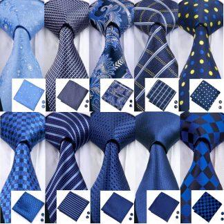 Designer Ties For Men 20 Styles Blue Fashion Silk Neckties Hanky Cufflinks Set For Men Wedding Party Tie Set Barry.Wang BL-01