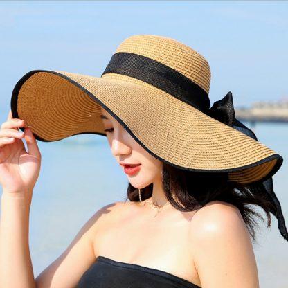Summer Large Brim Straw Hat Floppy Wide Brim Sun Cap Bowknot Beach Foldable Hats New 2019 Hats for Women