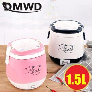 휴대용 미니 밥솥DMWD 1.5L MINI Electric Rice Cooker Portable Cooking Steamer Multifunction Food Container Soup Pot Heating Lunch Box 1-3 people