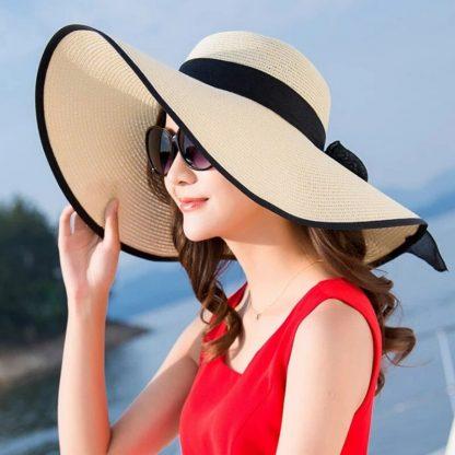 Summer Large Brim Straw Hat Floppy Wide Brim Sun Cap Bowknot Beach Foldable Hats New 2019 Hats for Women 1