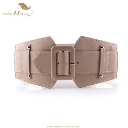 SISHION Vintage Wide Belts for Women Famous Brand Designer Elastic Party Belts Women's Red Camel Black Costume Belts VB0007