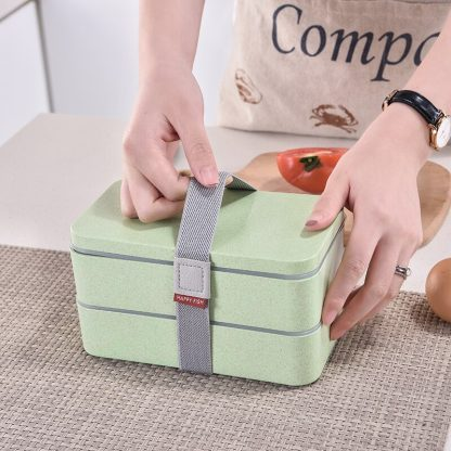 1200ml Wheat Straw Double Layers Lunch Box With Spoon Healthy Material Bento Boxes Microwave Food Storage Container Lunchbox 2
