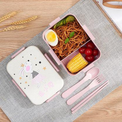 TUUTH Cute Cartoon Lunch Box Microwave Dinnerware Food Storage Container Children Kids School Office Portable Bento Box 3