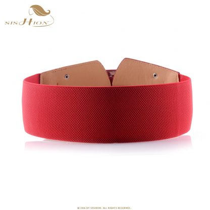 SISHION Vintage Wide Belts for Women Famous Brand Designer Elastic Party Belts Women's Red Camel Black Costume Belts VB0007 5