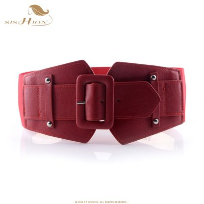 SISHION Vintage Wide Belts for Women Famous Brand Designer Elastic Party Belts Women's Red Camel Black Costume Belts VB0007 4